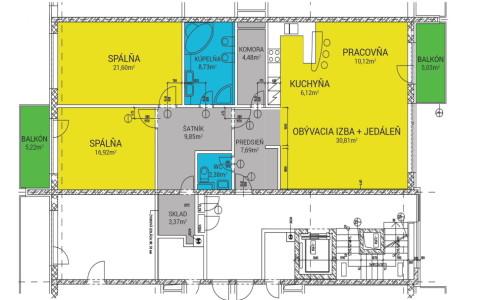 Na predaj veľký 3 izbový byt na Horskej ulici v Novom Meste – Bratislava